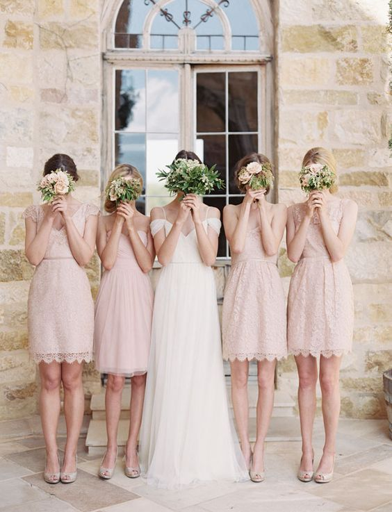 Elegant and Romantic Coral Pink Bridesmaid Dresses / http://www.himisspuff.com/bridesmaid-dress-ideas/5/