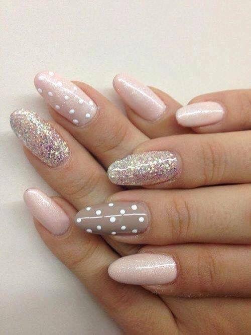 Pretty pastel pink nail design