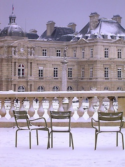 Jardins des Luxembourg under snow. Paris, France