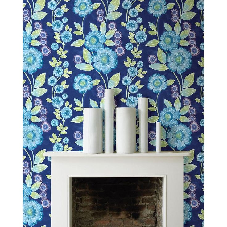 Best 25 blue floral wallpaper ideas on pinterest floral - Floral wallpaper home depot ...