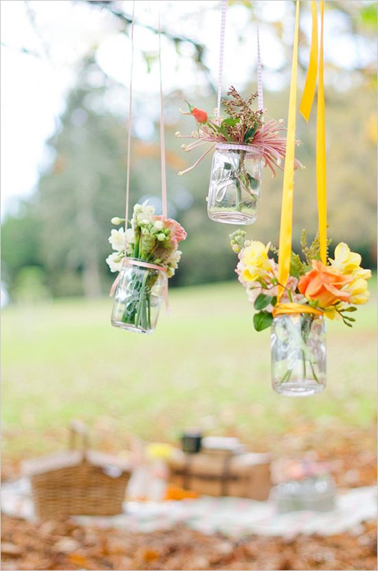 hanging jam jar florals. Outdoor wedding decor. Visit www.rosetintmywedding.co.uk for bespoke planning and design