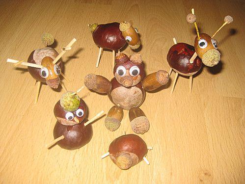 Voici quelques idées à faire avec des marrons, glans et cure-dent...