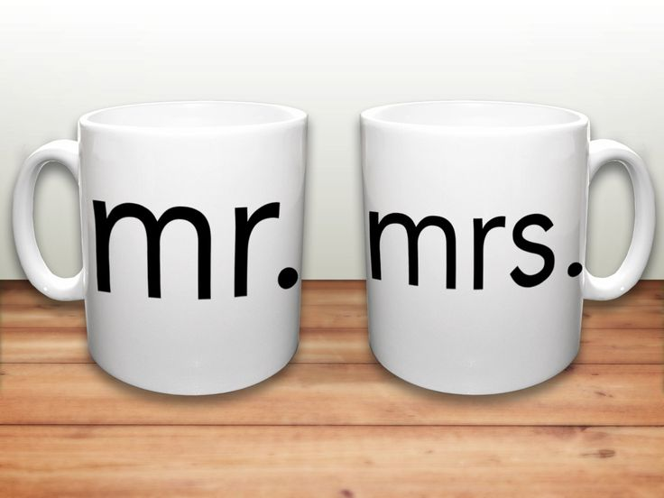 Mr. and Mrs. Mugs - Wedding Gift Mugs - Bride and Groom Gift -Set of 2 Mugs - Married Couple gift - His and Hers Coffee Mugs by CityMonograms on Etsy