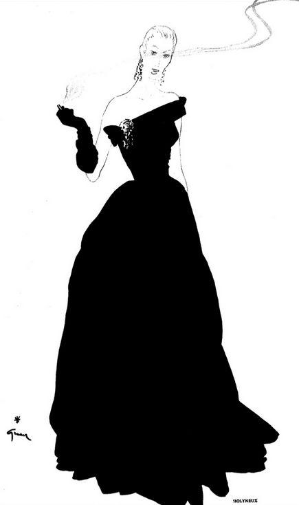Fashion illustration by René Gruau, 1950, Molyneux, la silhouette.
