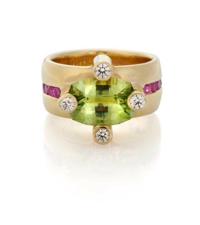 Кольцо с оливином и аметистом
