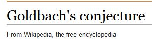 Goldbach's conjecture - Wikipedia, the free encyclopedia