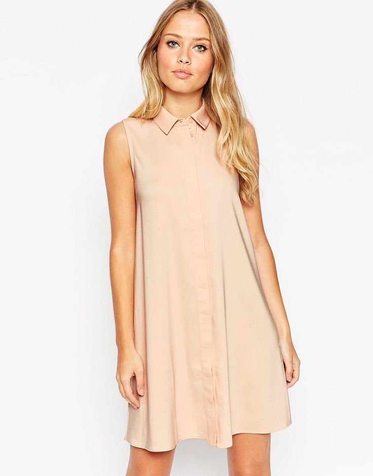 Image 1 of ASOS Sleeveless Shirt Dress