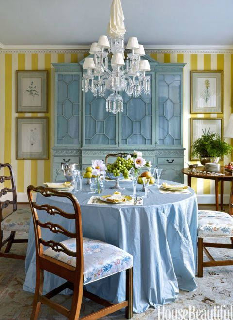 Designer Miles Redd Added A Breakfront To His Mothers Dining Room And Had It Painted In One Of Her Favorite Colors An Century Inspired Chalky Green