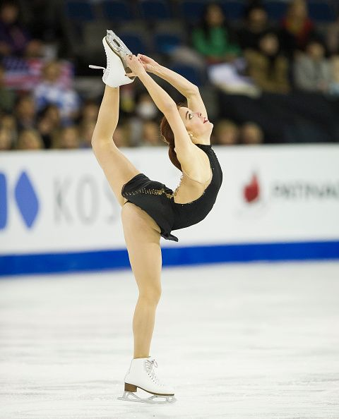 Ashley Wagner of the United States skates while competing during the Ladies Short Program on day one of Skate Canada International ISU Grand Prix of...