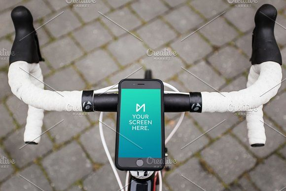 Download Iphone 6 Space Gray On Bicycle Cool Logo Iphone 6 Mockup Photoshop