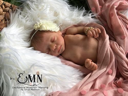 Blessing by Marita Winters is a limited edition preemie vinyl doll kit that comes with a sculpted head, full arms, full legs, a custom made tummy plate, and a certificate of authenticity signed by Marita Winters. Blessing will measure approximately 15 inches when finished. We recommend body #1500 to go with this doll kit.