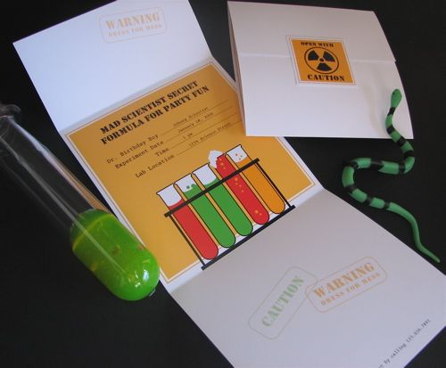 Free Party Printables - Science Party Invitation by LivingLocurto.com