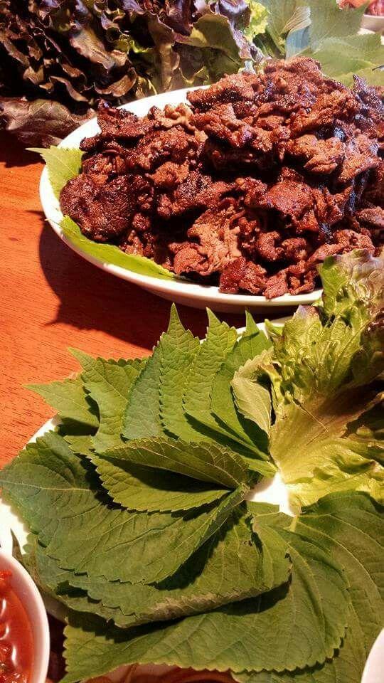 Rib Eye Bugogi with Sesame Leaf and Lettuce wraps.