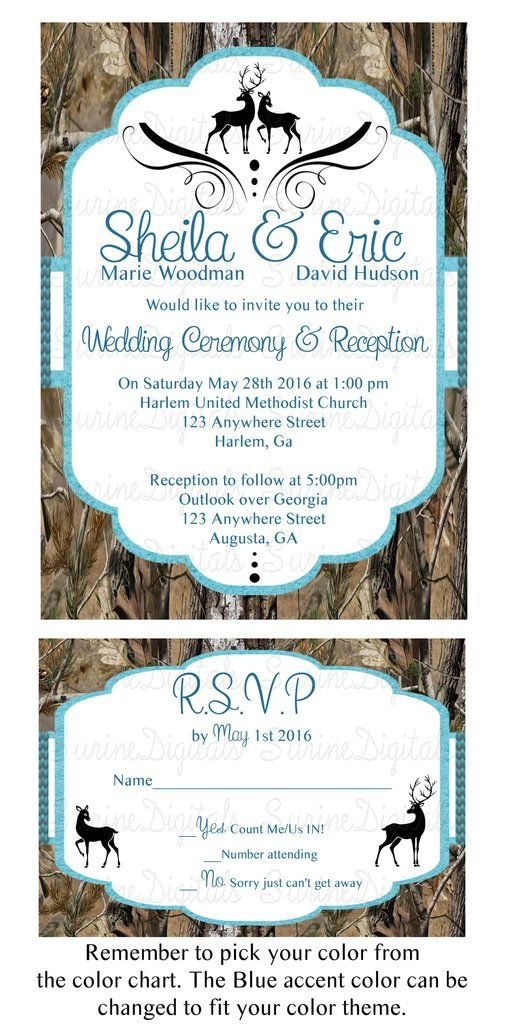 Camo Wedding Invitation with reply Card/ Buck and Doe Themed Wedding Invitation…