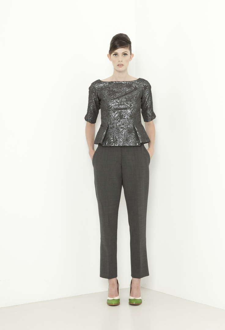 Penelope Top - pewter  Katharine Pant - charcoal