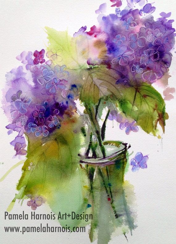 Shades of Blue Hydrangea original  Watercolor