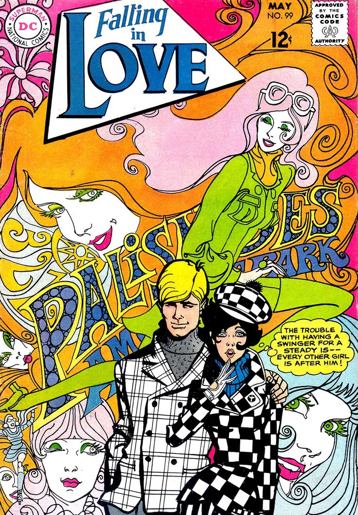 The psychedelic and op-art influences were being reflected in DC's romance line fairly early; this was the May 1968 issue. Just a beautiful cover by Ric Estrada. Note the tribute to Palisades Amusement Park, a longtime DC advertiser.