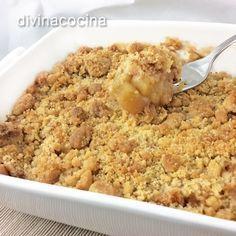 Esta receta de crumble de manzana se prepara en pocos minutos y es un postre delicioso, muy natural y que gusta a todos.