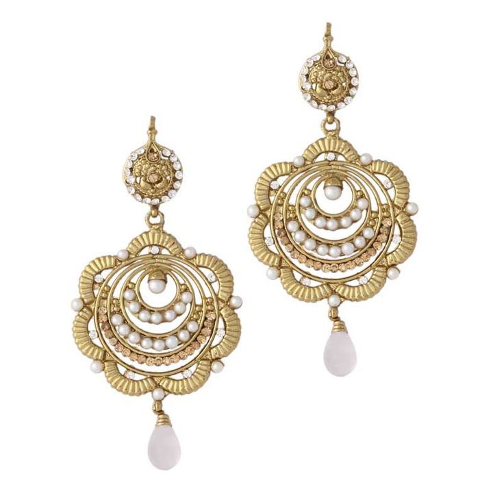 White Gold Plated Pearl Earrings
