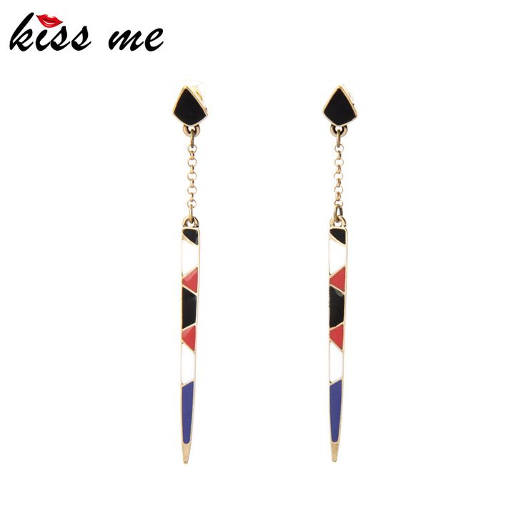 France Romantic Women Jewelry New Design Long Colorful Enamel Strip Drop Earrings Factory Wholesale