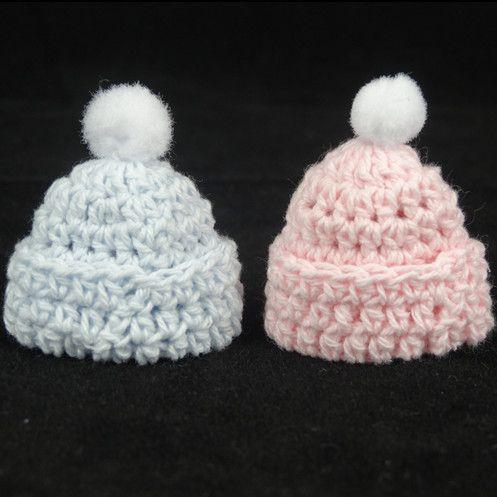 Nuovo 12 pz in miniatura crochet del cappello del bambino doccia favori battesimo per le decorazioni rosa blu