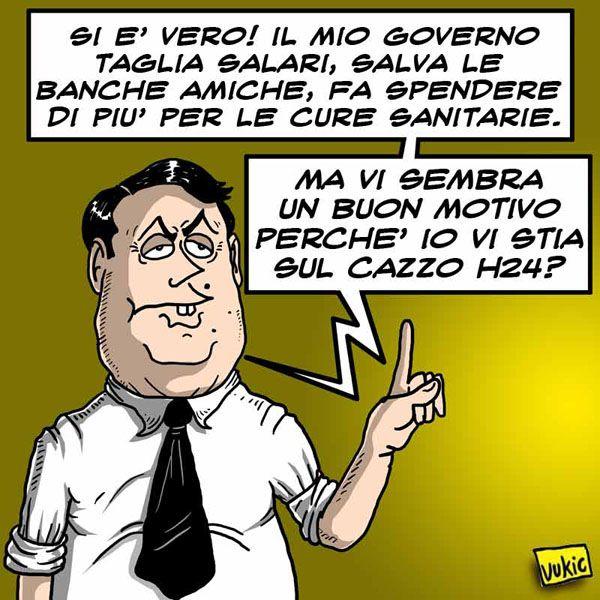 """L'operazione """"simpatia"""" del Premier... #IoSeguoItalianComics #Satira #Politica #Comics #Humor #Italy #Renzi #Banca #Governo"""