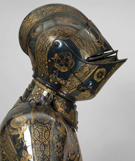 "The armor of Henry, Prince of Wales, ""for the field, tourney, tilt and barriers,"" 1608, by Jacob Halder. Prince Henry (1594-1612) was the elder son of King James I & VI and Anne of Denmark. You can see the armor at Windsor Castle."