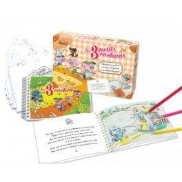 Coffret conte à illustrer : les 3 petits cochons. Tampons encreurs et coloriage.