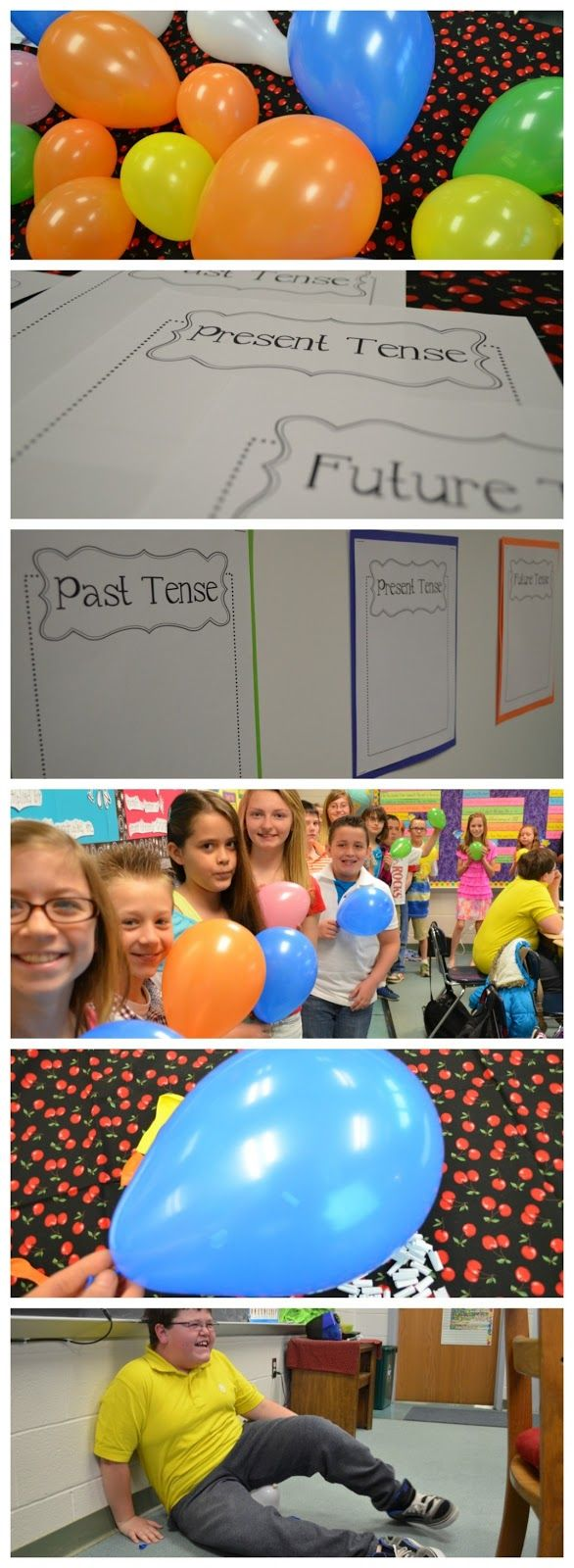 Verb Balloon Pop – Students pop balloons that contain paper slips with verbs that must be taped onto the correct tense. This could be a race or just for fun.