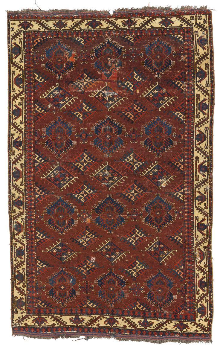 A Yomut 'Eagle Gul' group main carpet, Southwest Turkestan | lot | Sotheby's
