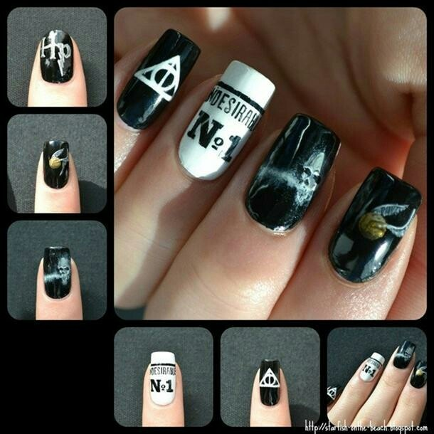 Harry Potter Nails  (newspaper nails and then Undesirable. no 1 on one nail)