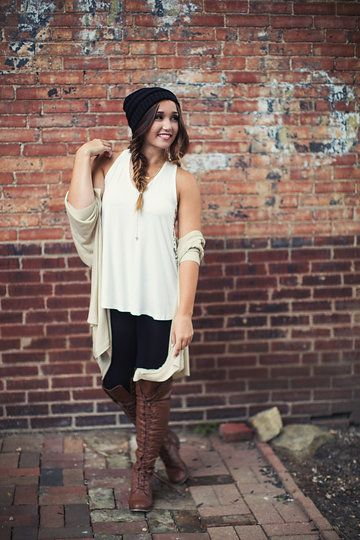 Photo from Single Thread Boutique - Back To Campus 2015 collection by Single Thread Boutique #cardigan #beanie #boots #singlethreadbtq #shopstb #boutique