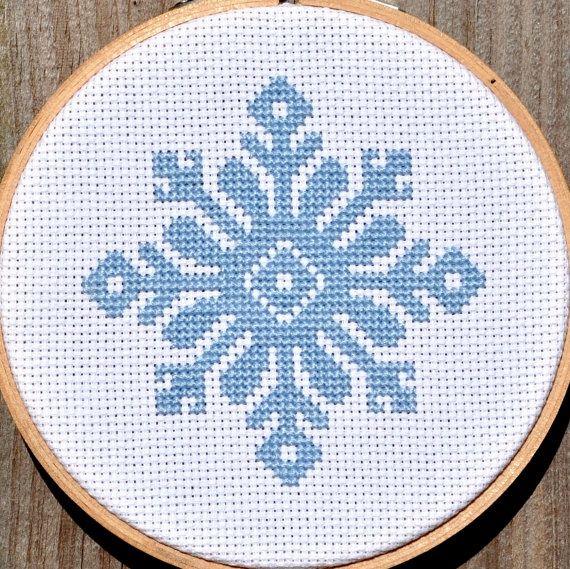 Instant download snowflake cross stitch pattern