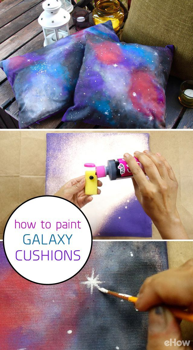 DIY galaxy cushions you can make fore a totally stellar gift! These easy-to-make pillow covers are so impressive and all you really need are pillows, fabric paint and craft sponges! How-to here: http://www.ehow.com/how_12343686_paint-galaxy-design-cushion-covers.html?utm_source=pinterest.com&utm_medium=referral&utm_content=freestyle&utm_campaign=fanpage