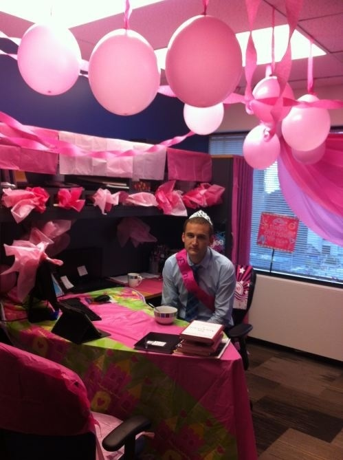 Pink decor cubicle