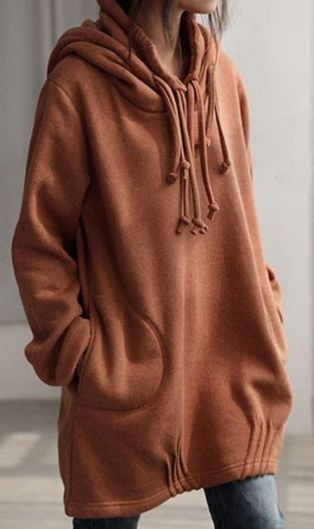 Unique Hoodie Design! Love all the Extra Ties! Solid Color Long Sleeve Loose Pullover Hoodie #Unique #Hoodie #Design
