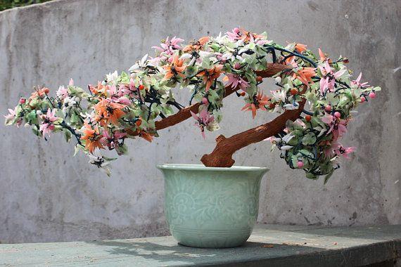 Large 27 Glass Cherry Blossoms Bonsai Tree Mid Century Asian Celadon Ceramic Pot Agate Glass Jade Tree Cherry Blossom Bonsai Tree Jade Tree Bonsai Tree