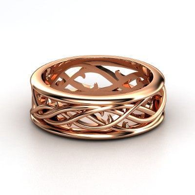 Elvish Rose Gold Band - this would be really beautiful for a wedding ring if it were a bit thinner and not rose gold.
