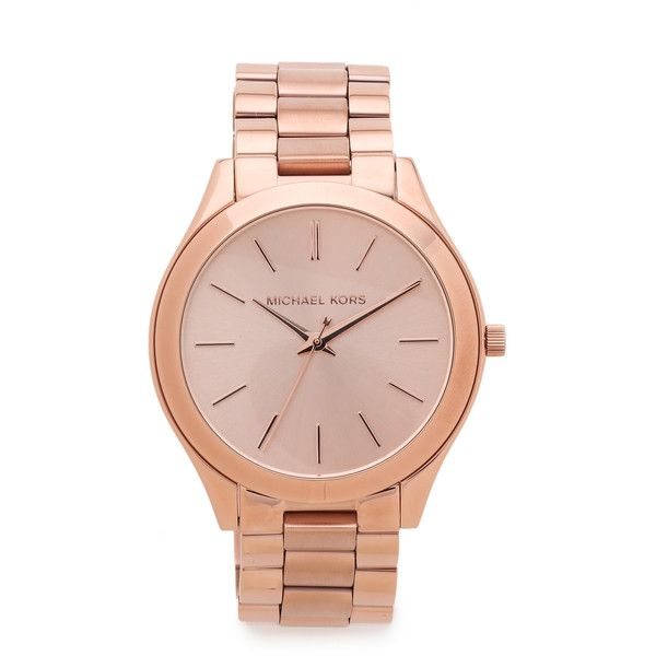 Michael Kors Slim Runway Watch (€185) ❤ liked on Polyvore featuring jewelry, watches, rose gold, dial watches, bracelet watches, polish jewelry, slim watches e hinged bracelet