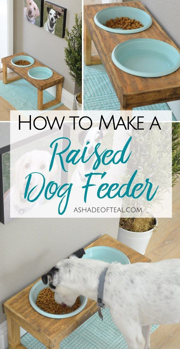 DIY raised dog feeder / dog feeder tutorial / rustic dog feeder - Tap the pin for the most adorable pawtastic fur baby apparel! You'll love the dog clothes and cat clothes! <3