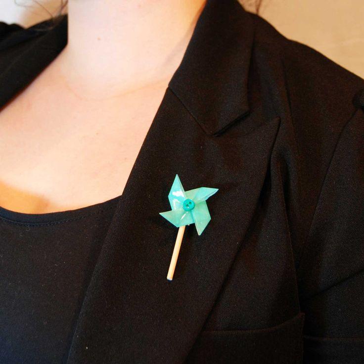 1327e broche moulin a vent vert bijou origami papier resine