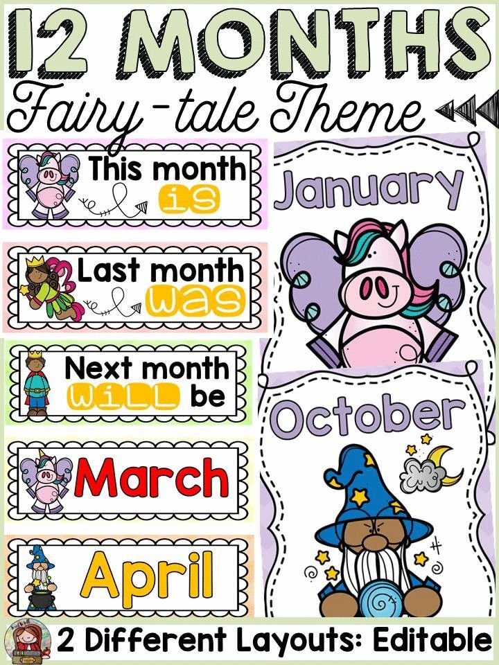 Fairytale class decor: editable months of the year display | ***All ...
