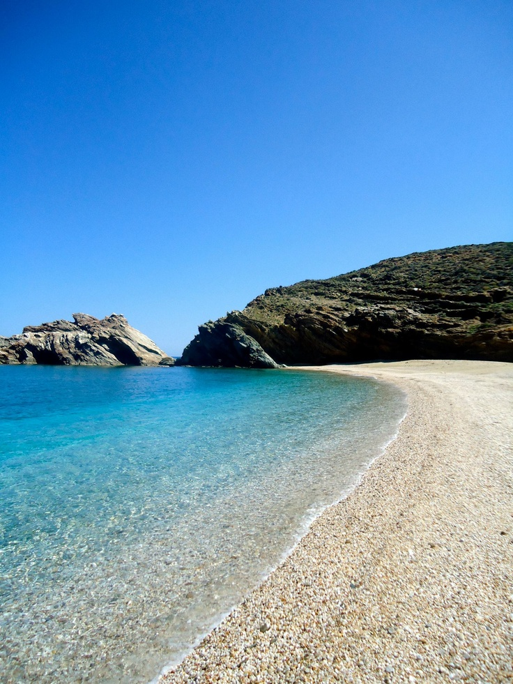 deserted beach on Andros island in Greece