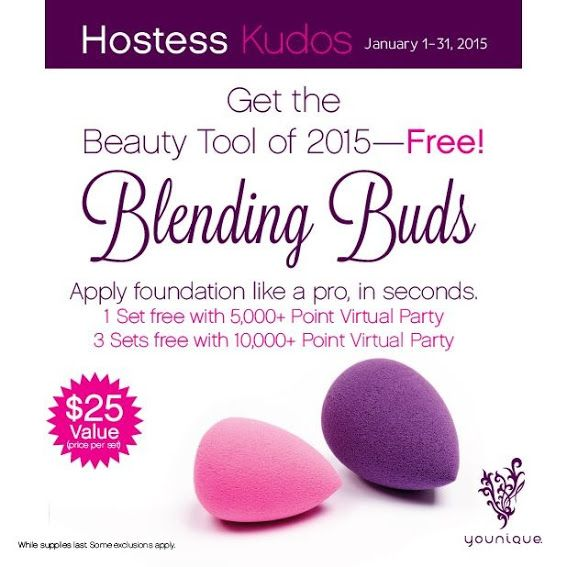 I am totally obsessed with my #beautyblender and was wishing Younique would come out with one! As always, they did even better!  They came out with TWO and are giving them away to all hostesses who have a $500 party(along with your other credit and half off items)! If you've ever wondered how to get a professional, precise look with your foundation this is the key!!!!  So with your qualifying party you would get: $70 in YCash 3 half-priced items, AND blending buds