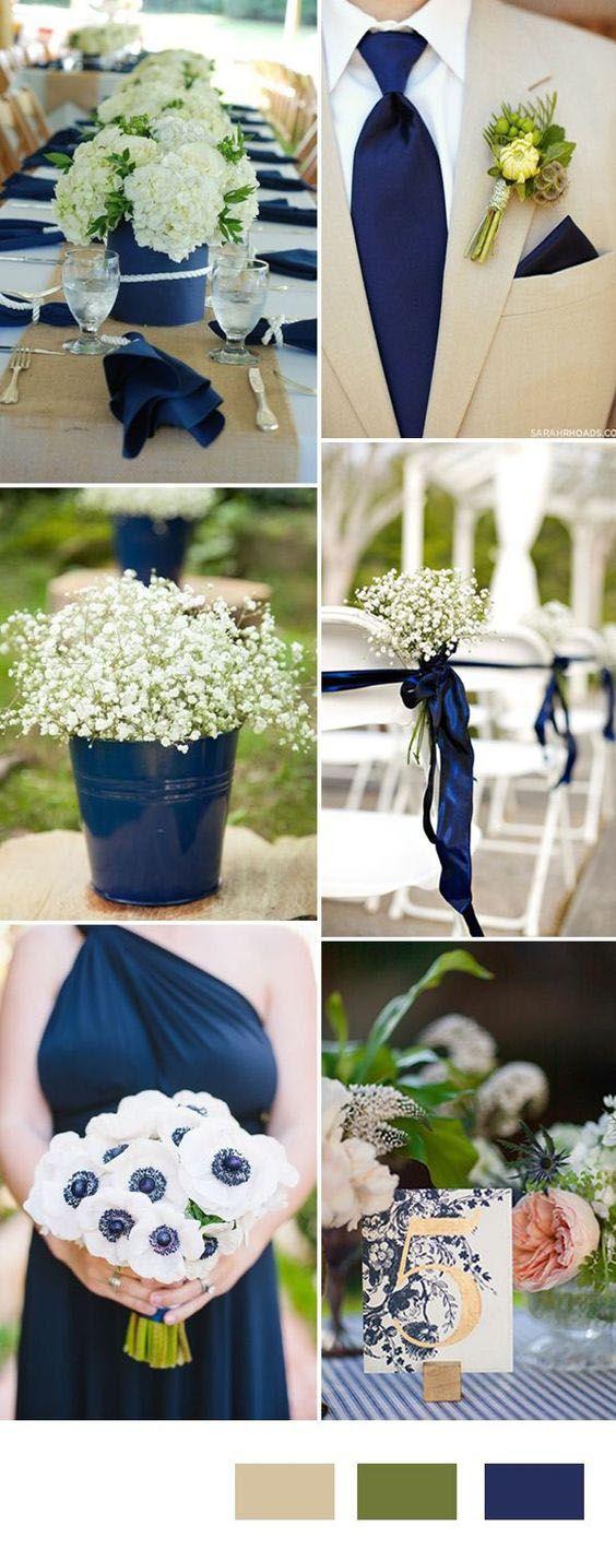 ideas de color de boda verde y azul marino, bodas de primavera, flores de boda blancas, …