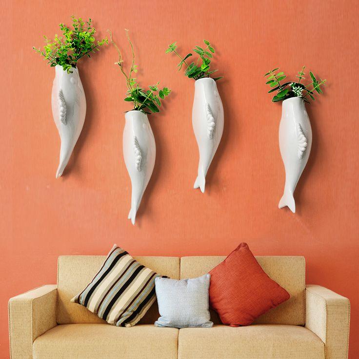 3D керамические стены рыбы декоративные вазы Европейском стиле творческий цветок вставки украшения стены стикеры керамического ремесла home Decor купить на AliExpress