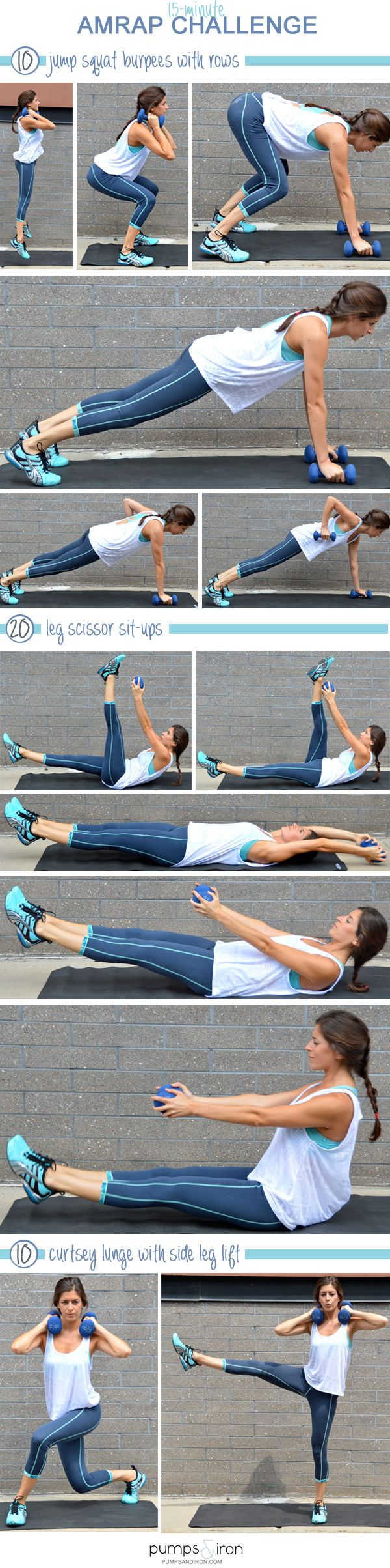 15-Minute AMRAP Workout with hand weights - Looks awesome!