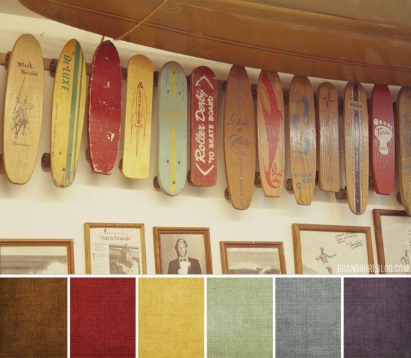 vintage skateboard palette - yellow for master bedroom, pale blue for master bath?