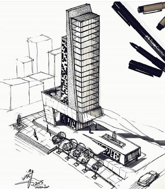 Architectural Buildings Sketches