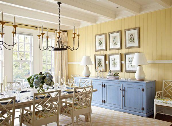Светлый оттенок желтого в интерьере столовой от Tom Stringer Design Partners.